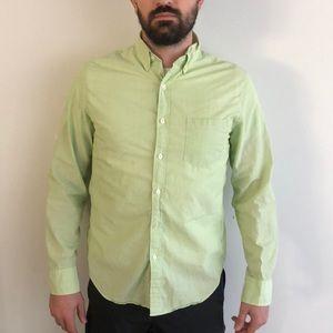 J. Crew Light Green Striped Shirt Button Up Medium